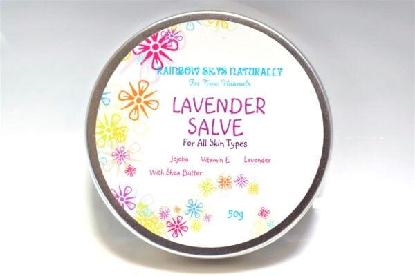 "A tin of ""Lavender Salve - Jojoba, Vitamin E, Lavender, with shea butter"""""