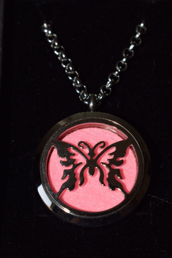 Essential oil locket with a butterfly pendant