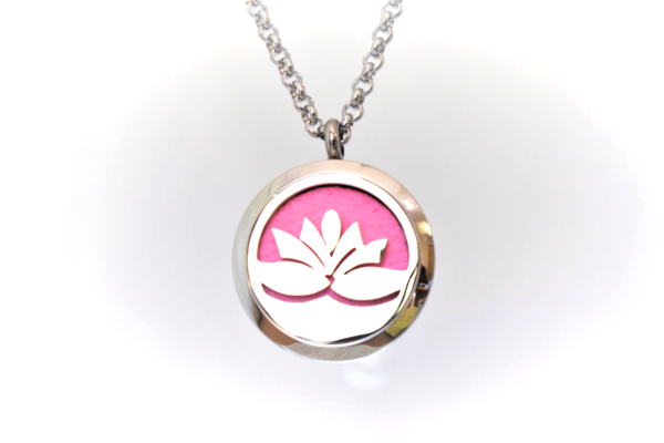 Pendant of an essential oil locket with a lotus flower