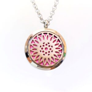 pendant of an essential oil locket with a sunflower