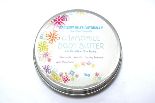 """A tin of """"Chamomile Body Butter for sensitive skin types with Chamomile, Rosehip, Evening Primrose and Shea Butter"""""""