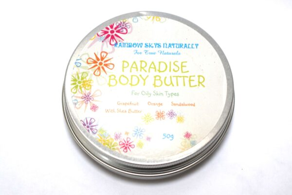 """A tin of """"Paradise Body Butter - for oily skin types with Grapefruit, Orange Sandalwood and Shea Butter"""""""