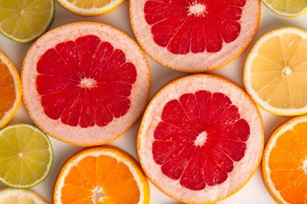 grapefruit, orange and lime slices