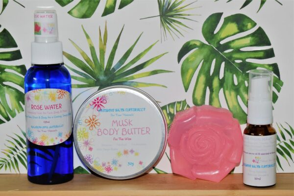 """""""Rose water, Musk body butter, pink soap, wise facial serum"""""""