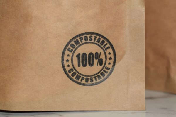 100% compostable logo on packet
